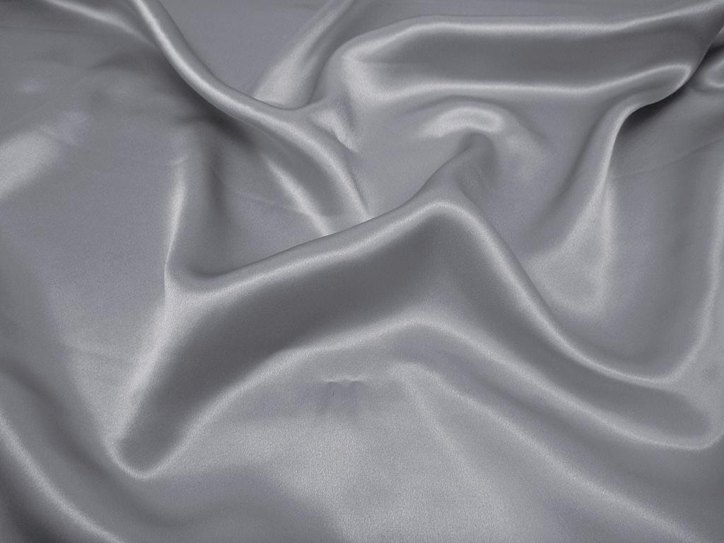 Tkanina jedwabna satyna w kolorze szarym