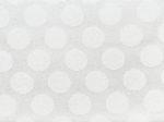 Tkanina jedwabna adamaszek mleczna biel jedwabiu, wzór grochy
