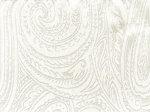 Tkanina jedwabna adamaszek mleczna biel jedwabiu, wzór paisley