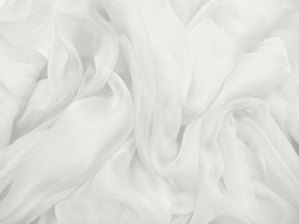 Tkanina jedwabna szyfon mgiełka w kolorze białym
