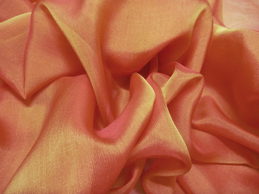Tkanina jedwabna szyfon opalizujący w kolorze pomarańczowym